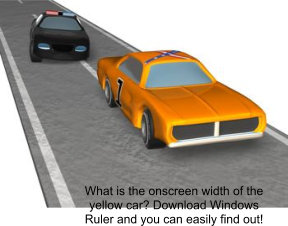 download Windows Ruler for free to see how big the yellow car is